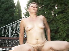 Rural granny whore takes big hard cock in mouth