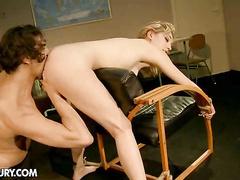 Bad school girl in bondage treated with big cock