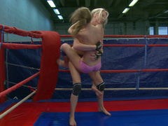 Busty Russian teen girl is a super lesbian fighter